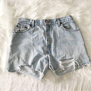 Holey LightWash Vintage 550 Relaxed CutOff Shorts